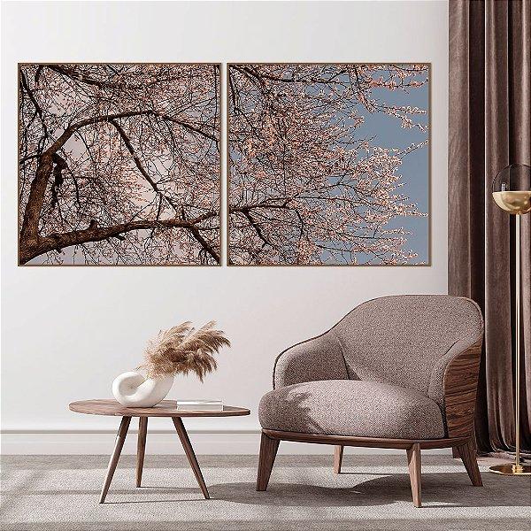Conjunto com 02 quadros decorativos Cerejeira