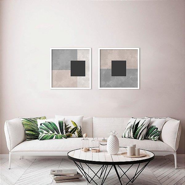 Conjunto com 02 quadros decorativos Geometric Texture
