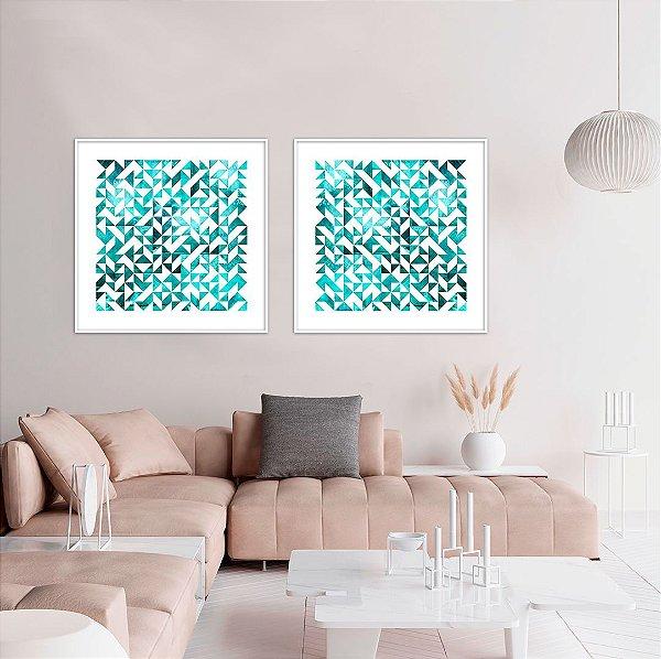 Conjunto com 02 quadros decorativos Triângulos