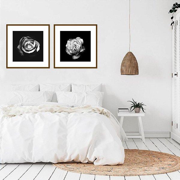 Conjunto com 02 quadros decorativos Rosas