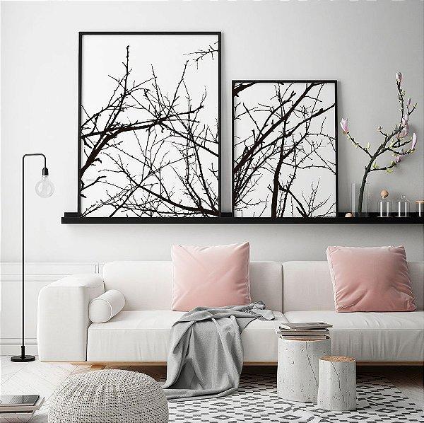 Conjunto com 02 quadros decorativos Galhos em P&B