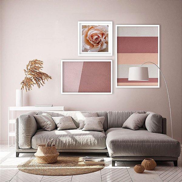 Conjunto com 03 quadros decorativos Romântico