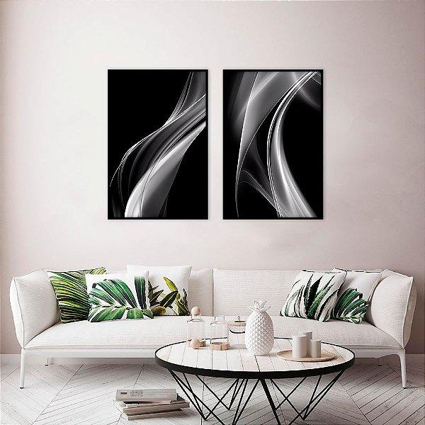 Conjunto com 02 quadros decorativos Linhas Abstratas