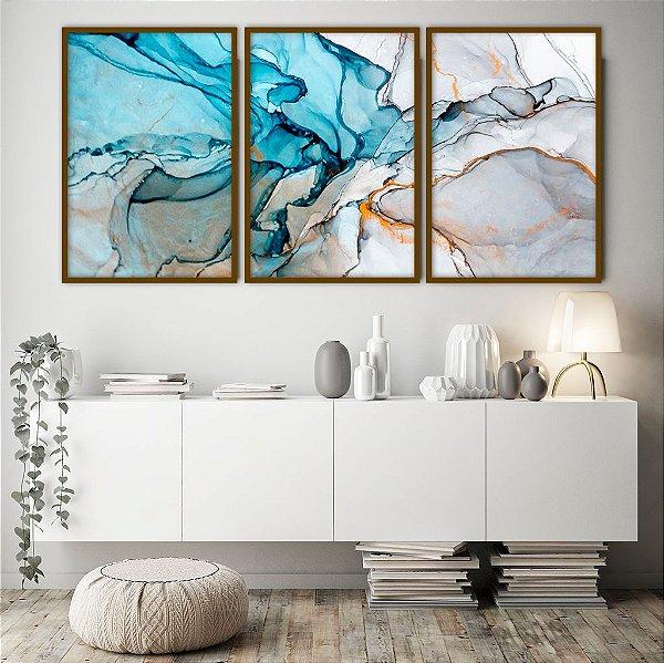 Conjunto com 03 quadros decorativos Pintura Abstrata