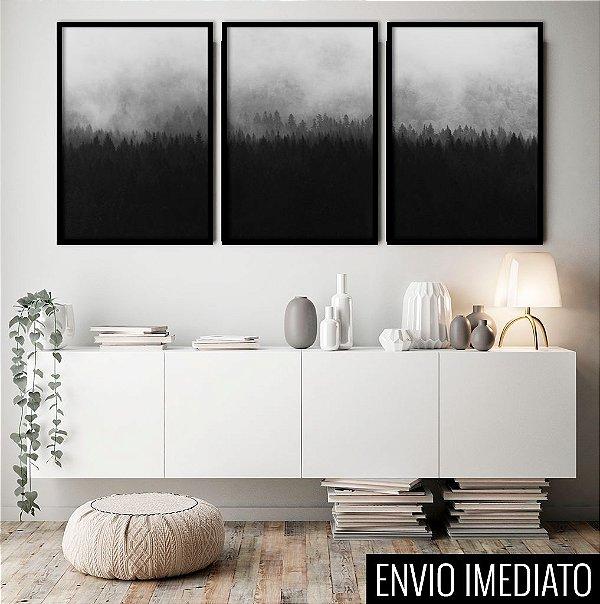 Conjunto com 03 quadros decorativos Floresta Escandinava 40x60cm (LxA) Moldura Preta