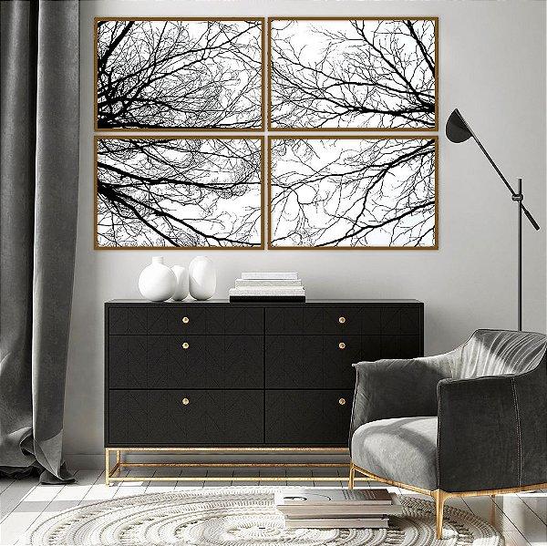 Conjunto com 04 quadros Decorativos Natureza