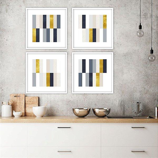 Conjunto com 04 quadros decorativos Geométrico Blue Gold