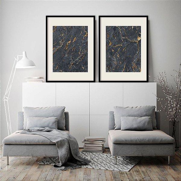 Conjunto com 02 quadros decorativos Mármore