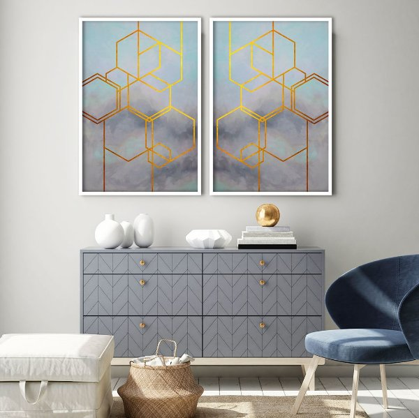 Conjunto com 02 quadros decorativos Geometric Abstract Gold