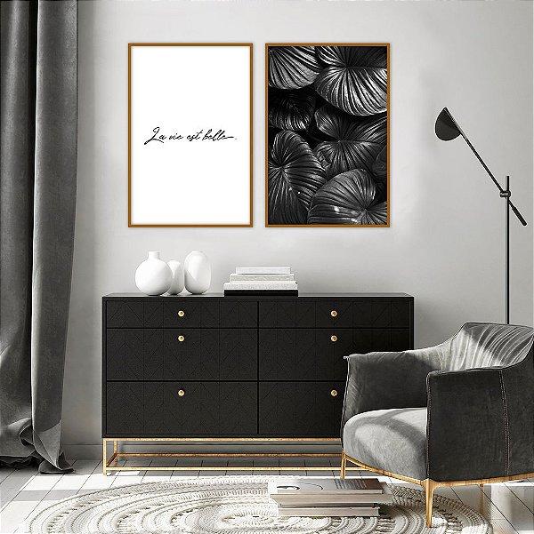 Conjunto com 02 quadros decorativos La Vie Est Belle