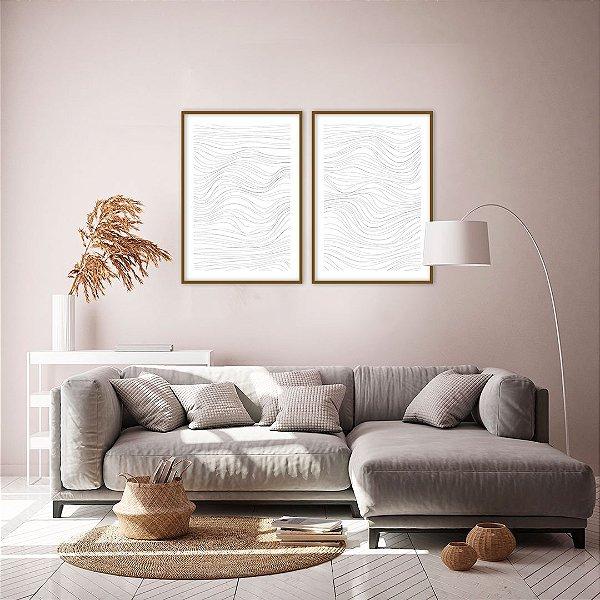 Conjunto com 02 quadros decorativos Linhas