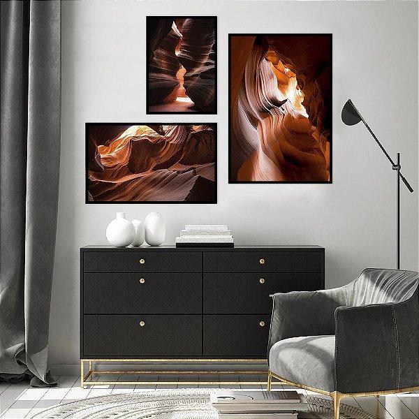 Conjunto com 03 quadros decorativos Rochas