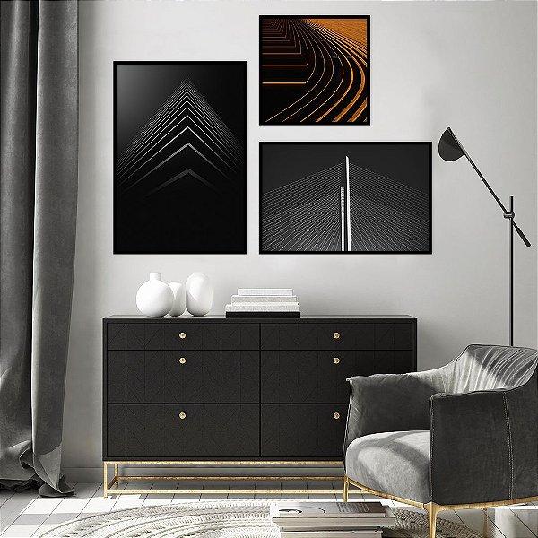 Conjunto com 03 quadros decorativos Urban