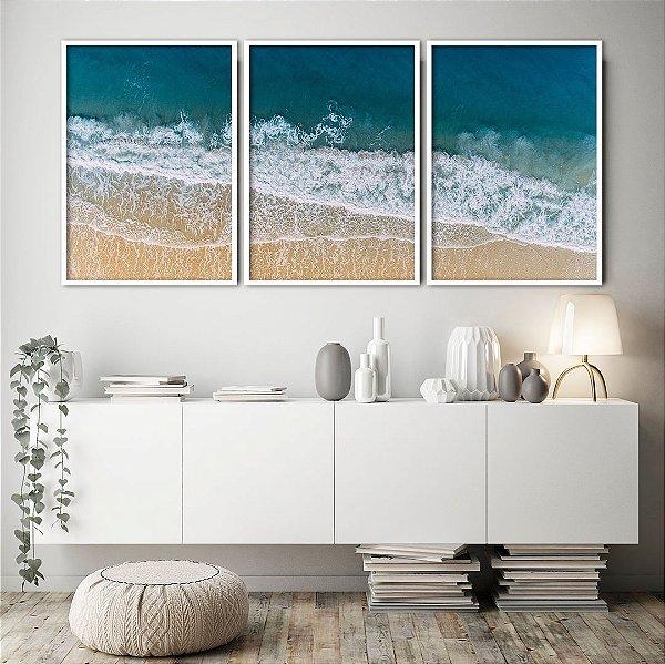 Conjunto com 03 quadros decorativos Mar