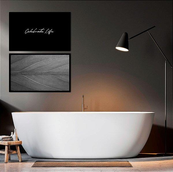 Conjunto com 02 quadros decorativos Celebrate Life