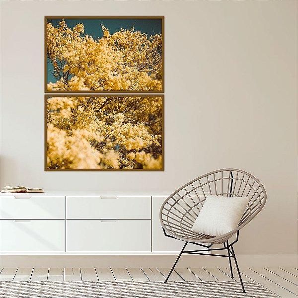 Conjunto com 02 quadros decorativos Yellow Flowers
