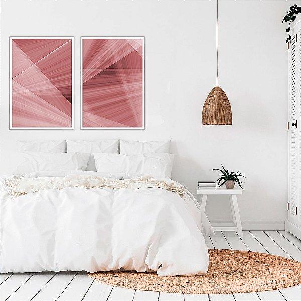 Conjunto com 02 quadros decorativos Red Geométric