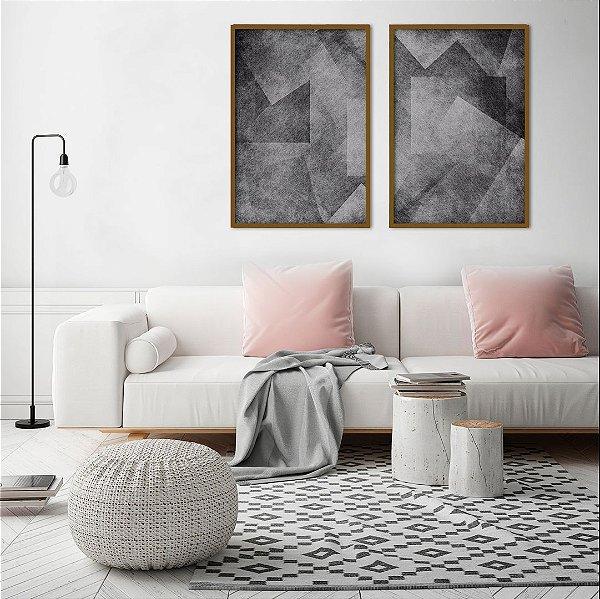 Conjunto com 02 quadros decorativos Geométrico P&B