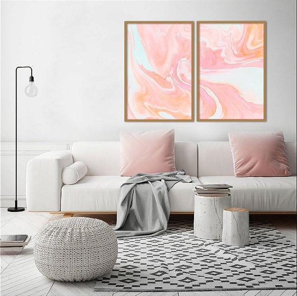Conjunto com 02 quadros decorativos Rosê