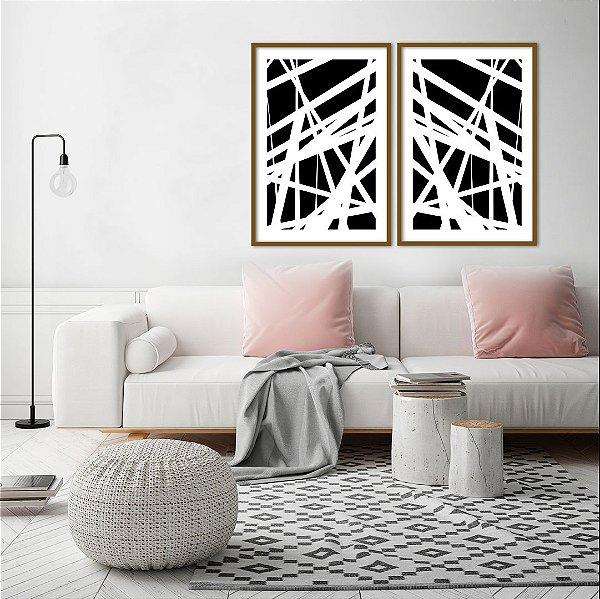 Conjunto com 02 quadros decorativos Linhas Preto e Branco