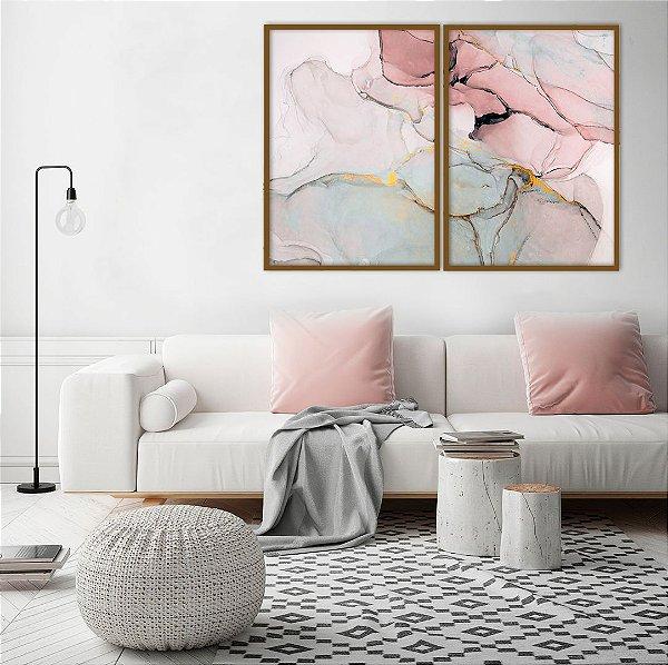 Conjunto com 02 quadros decorativos Abstrato Rosê