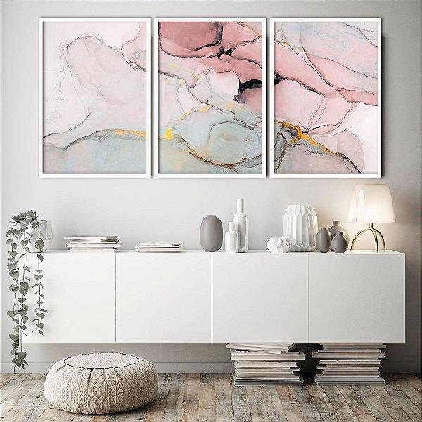 Conjunto com 03 quadros decorativos Abstrato Rosê