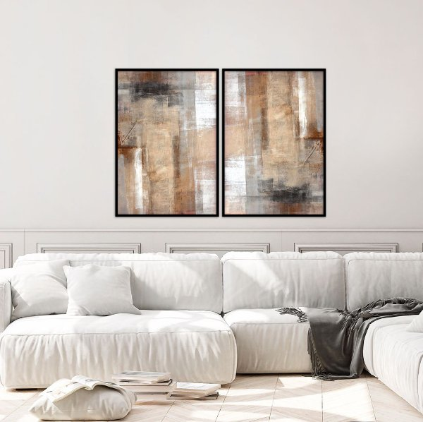 Conjunto com 02 quadros decorativos Pintura Abstract