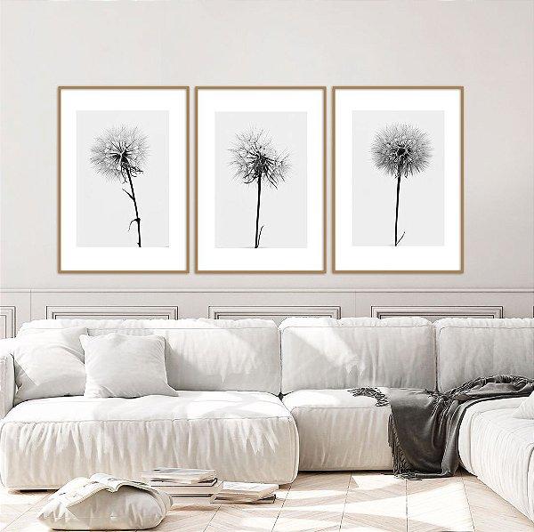 Conjunto com 03 quadros decorativos  Trio Dente-de-leão