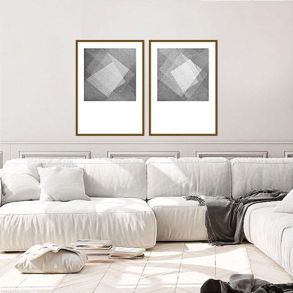 Conjunto com 02 quadros decorativos Square