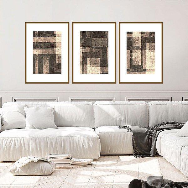 Conjunto com 03 quadros decorativos Textura Abstrata