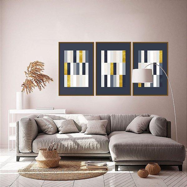 Conjunto com 03 quadros decorativos Geometric Blue