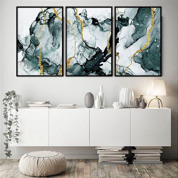 Conjunto com 03 quadros decorativos Dourado Abstrato