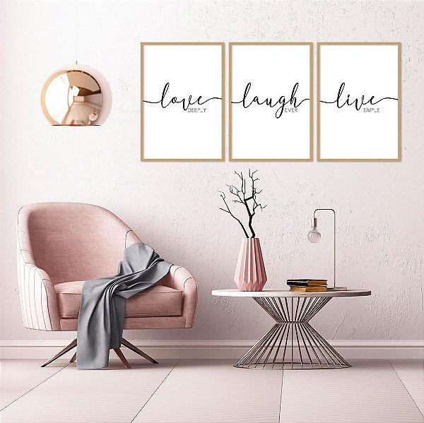 Conjunto com 03 quadros decorativos Love - Laugh - Live