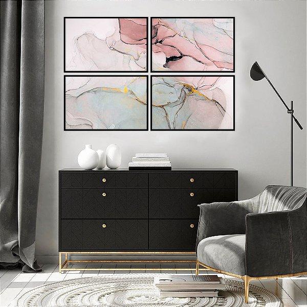 Conjunto com 04 quadros Decorativos Abstrato Rosê