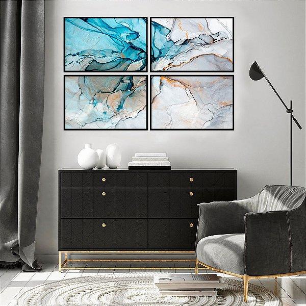 Conjunto com 04 quadros Decorativos Pintura Abstrata