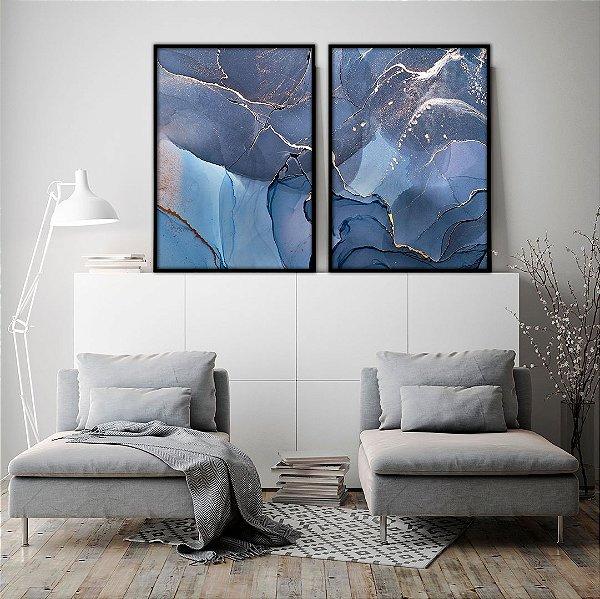 Conjunto com 02 quadros decorativos Azul Profundo