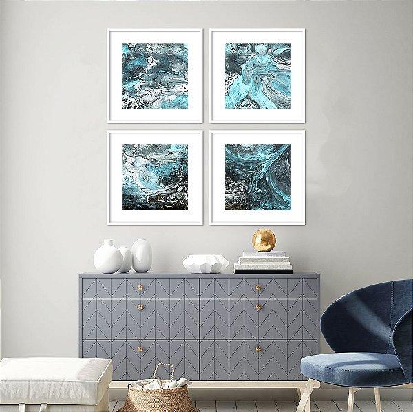 Conjunto com 04 quadros decorativos Blue Abstract