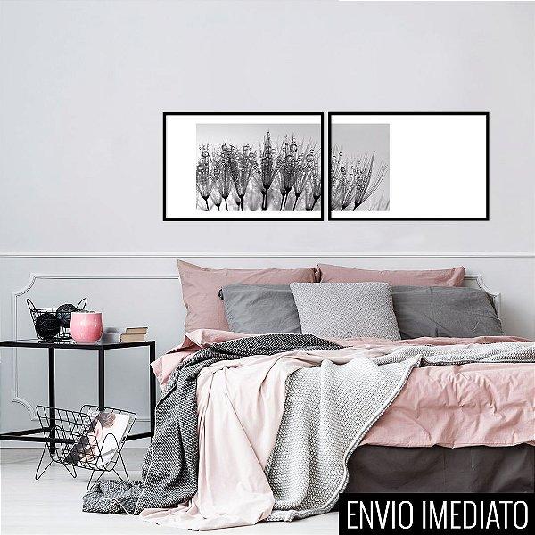 Conjunto com 02 quadros decorativos Orvalho 60x40cm (LxA) Moldura Preta