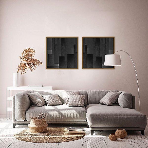 Conjunto com 02 quadros decorativos Abstract Black