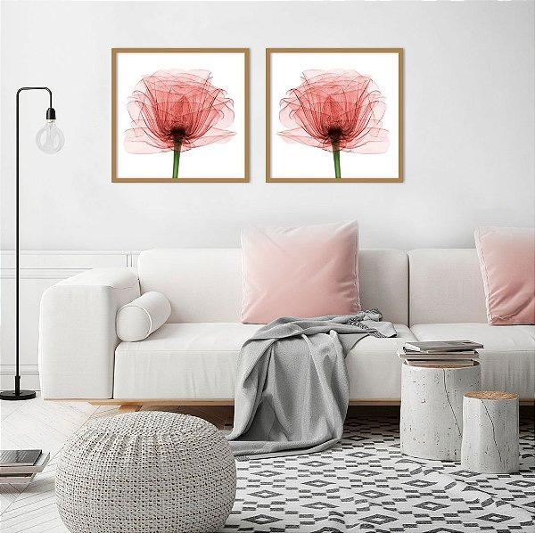 Conjunto com 02 quadros decorativos Flor Vermelha