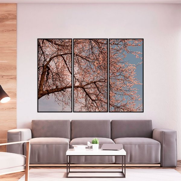 Conjunto com 03 quadros decorativos Primavera