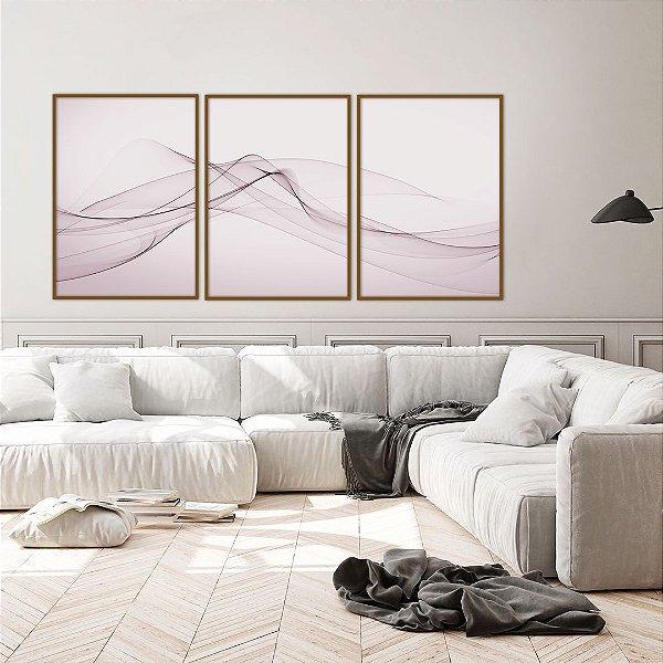 Conjunto com 03 quadros decorativos Rosê