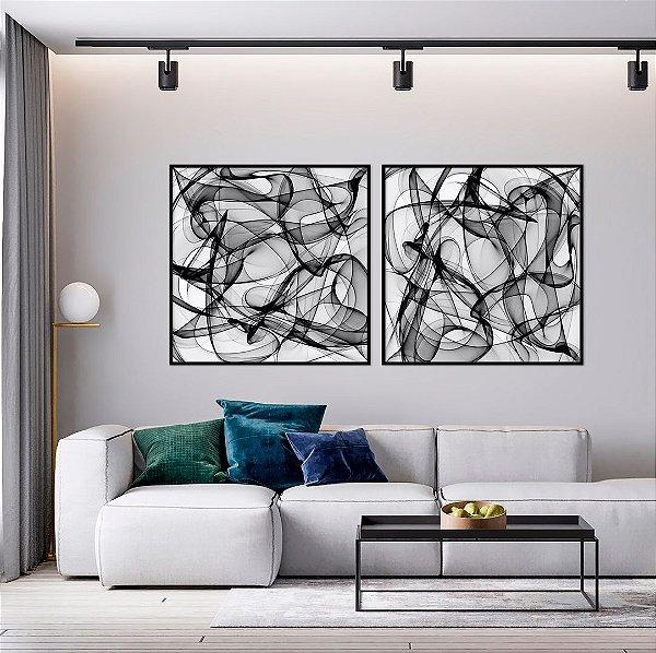 Conjunto com 02 quadros decorativos Formas Abstratas P&B