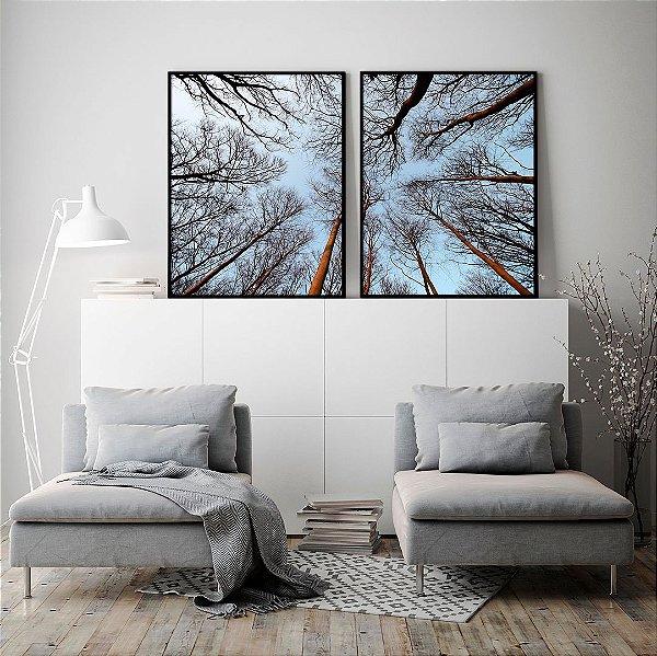 Conjunto com 02 quadros decorativos Céu Azul