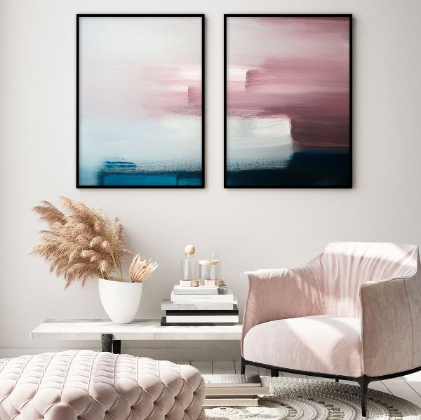 Conjunto com 02 quadros decorativos Pintura
