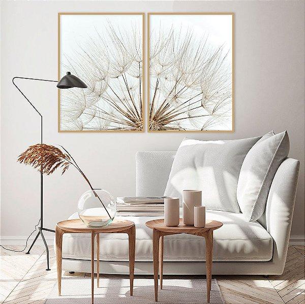Conjunto com 02 quadros decorativos Dente-de-leão Suave