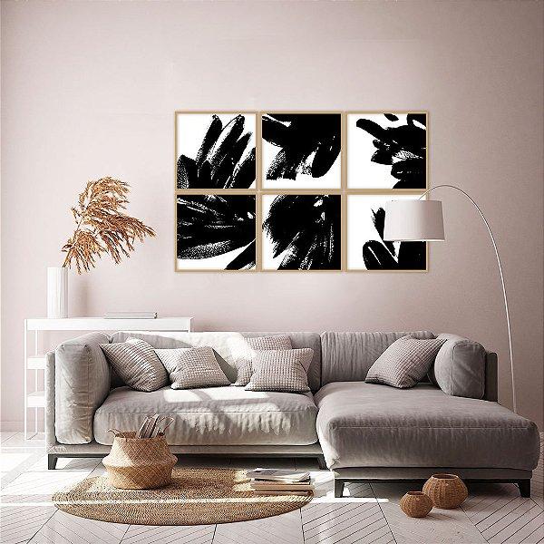 Conjunto com 06 quadros decorativos Pintura Abstrata
