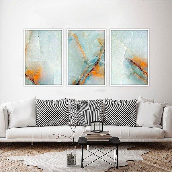 Conjunto com 03 quadros decorativos Pedra Preciosa