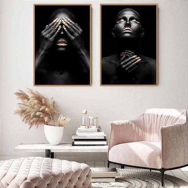 Conjunto com 02 quadros decorativos Expressão