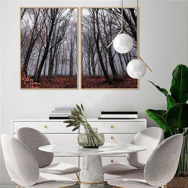 Conjunto com 02 quadros decorativos Outono